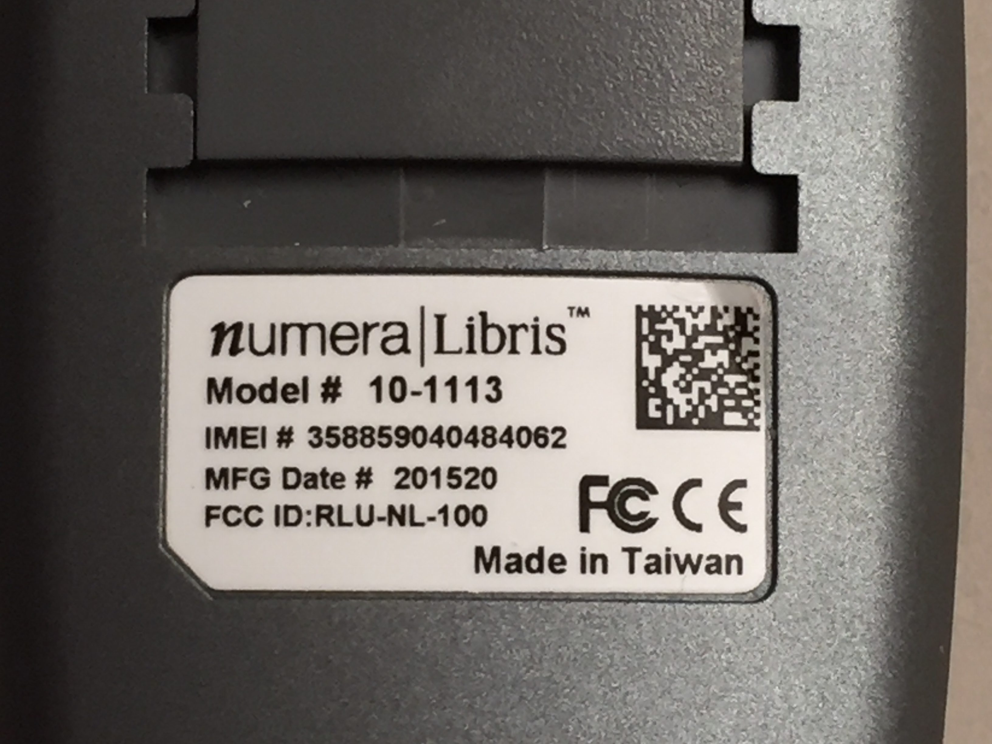 This label displays the manufacture and model, and other important information - Add a 2D bar-code with more details