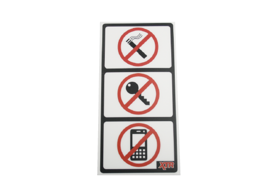 A durable label for use at a gas pump instruction and warning label