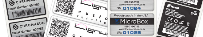 A variety of variable data labels that we can produce. Bar-code, data matrix, 2d bar-code, QR code, Serial numbers, Names, Part Numbers etc.