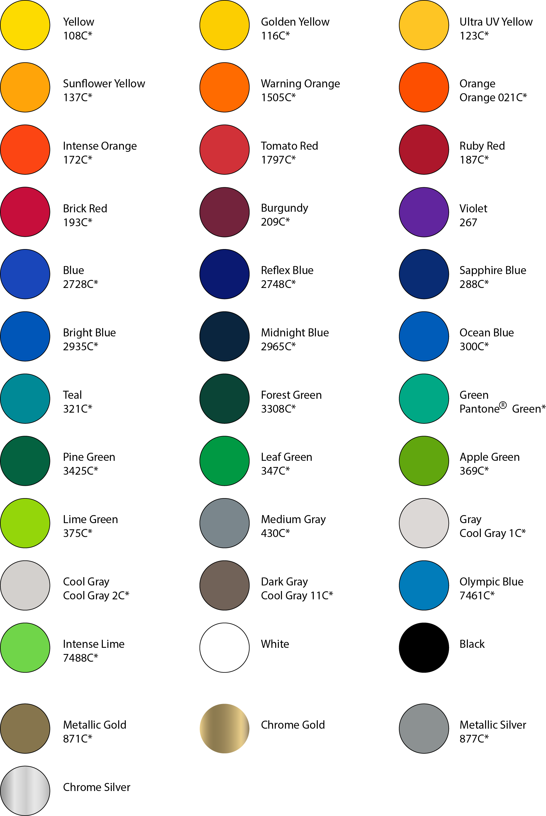 Some of the many spot colors available.