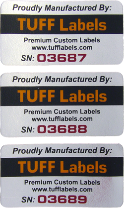 Serial Number labels printed by TUFFLabels.